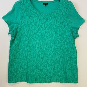 Talbots Woman 1X green lace top